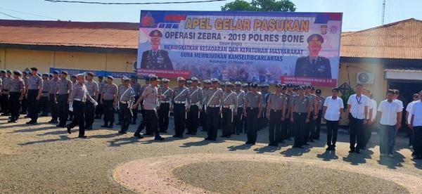 Kapolres Bone Pimpin Apel Gelar Pasukan Operasi Zebra 2019