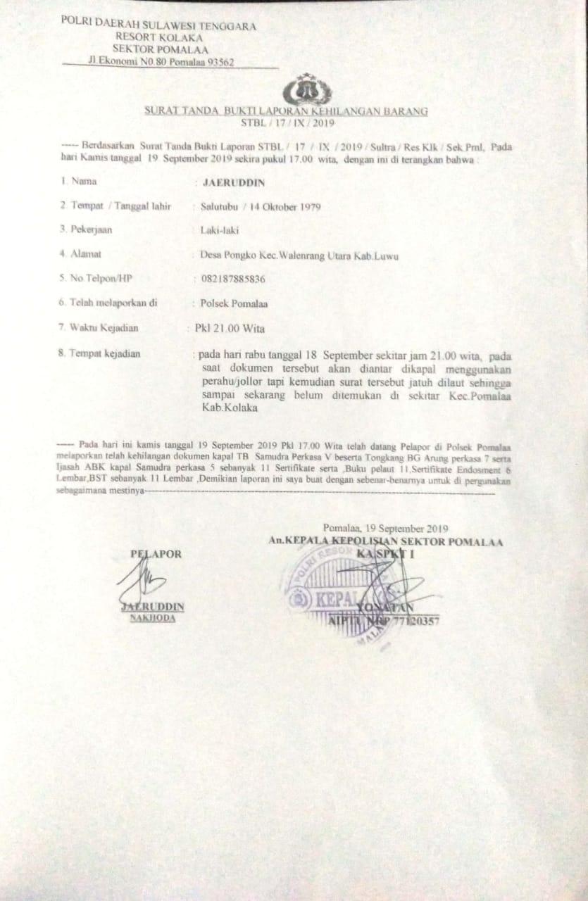 Berkas Berharga Milik Kapal dan ABK Dilaporkanhilang di Perairan Pomalaa