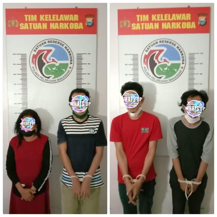 Satnarkoba Polres Pelabuhan Makassar Ringkus 4 Pelaku Lahgun Narkoba, 2 Diantaranya diduga Pengedar