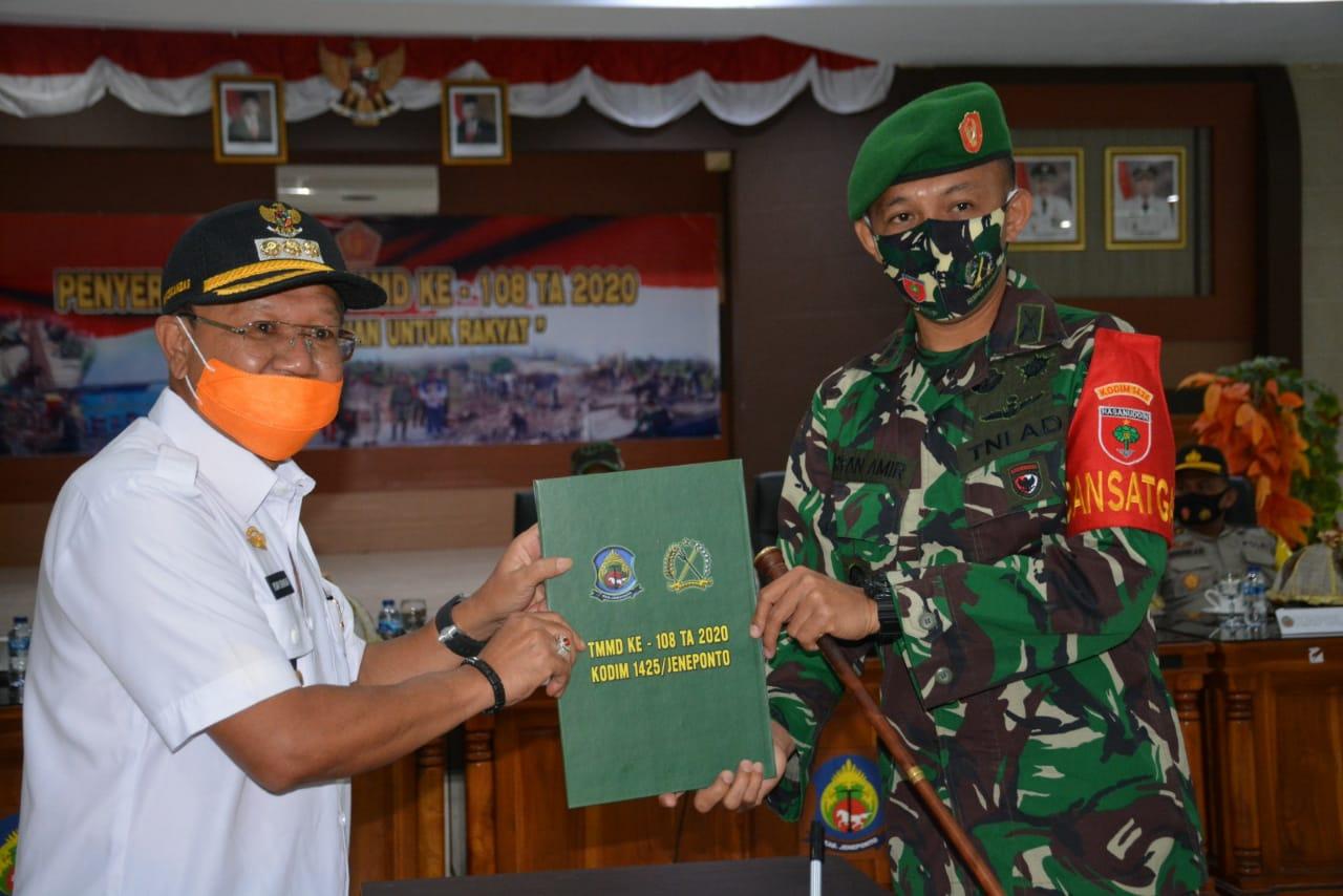 Kasrem Hadiri Penyerahan Hasil TMMD ke 108 di Kabupaten Jeneponto