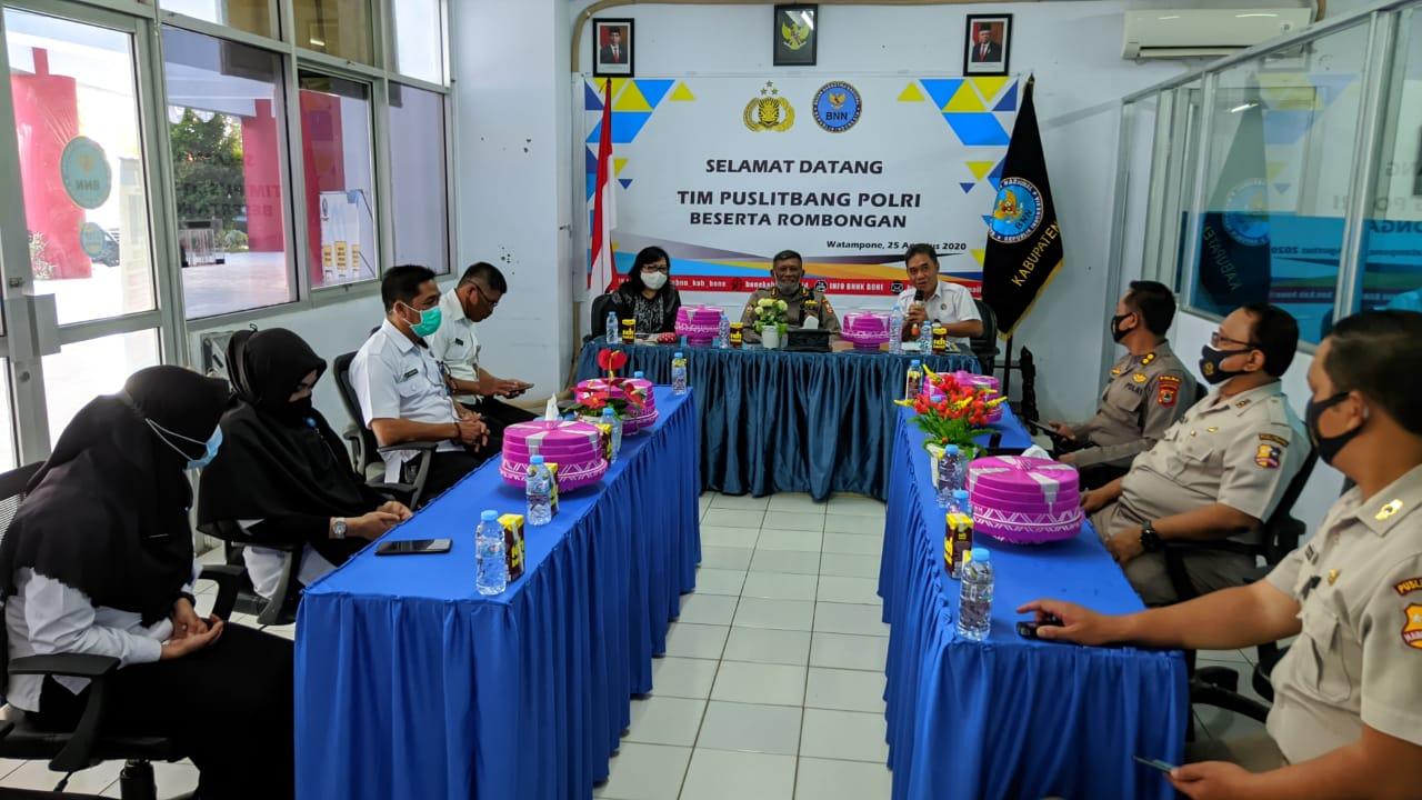 Evaluasi Penugasan Anggota diluar Struktur Organisasi, Tim Peneliti Puslitbang Polri kunjungi BNNK Bone