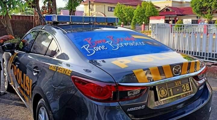 Polres Bone Pasang Branding Ayo Pakai Masker, Bone Bermasker dan 3M + 1T di kendaraan dinas