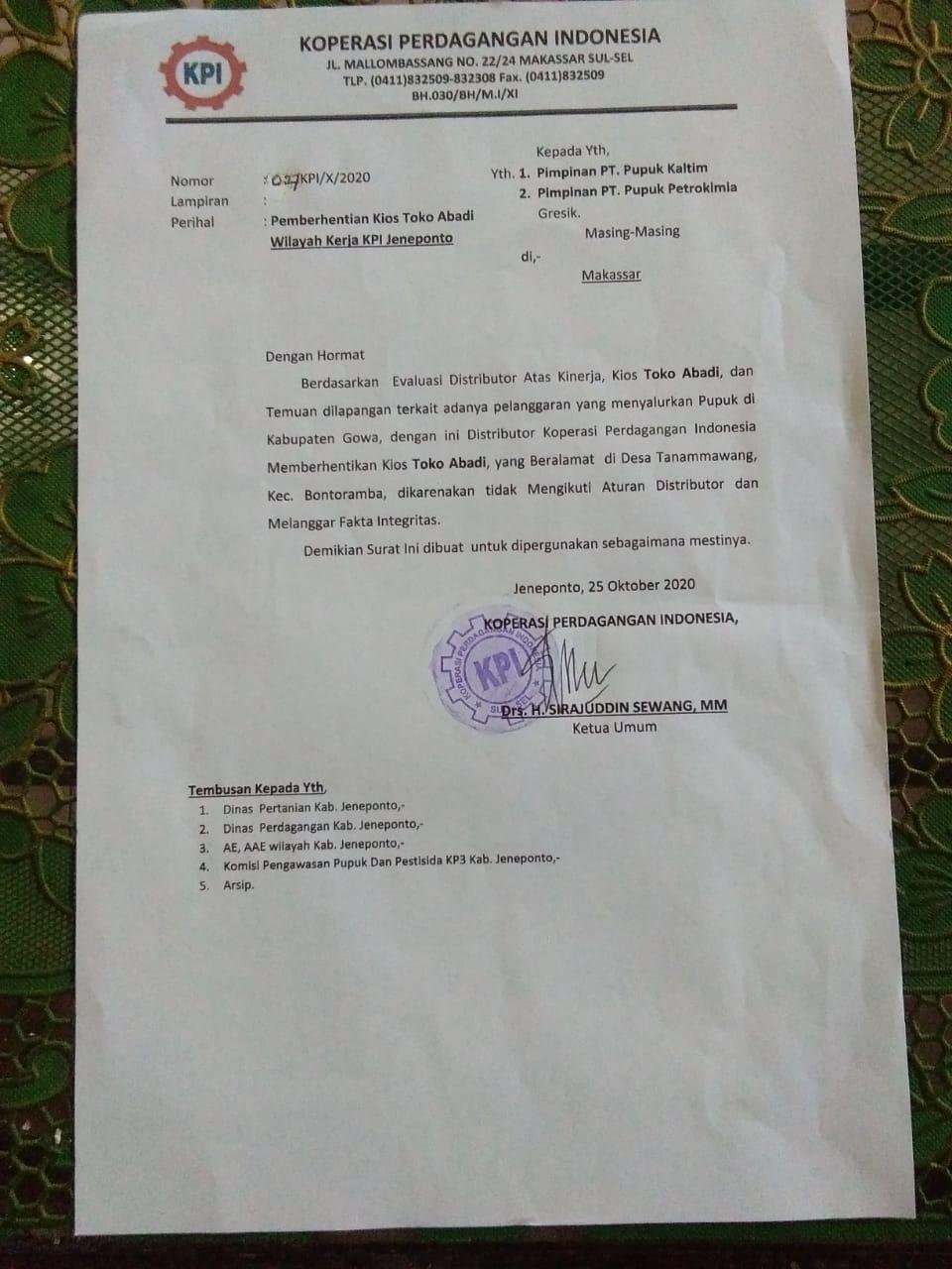 Jual Pupuk di Luar Kabupaten, KPI Berhentikan satu pengecer di Bontoramba