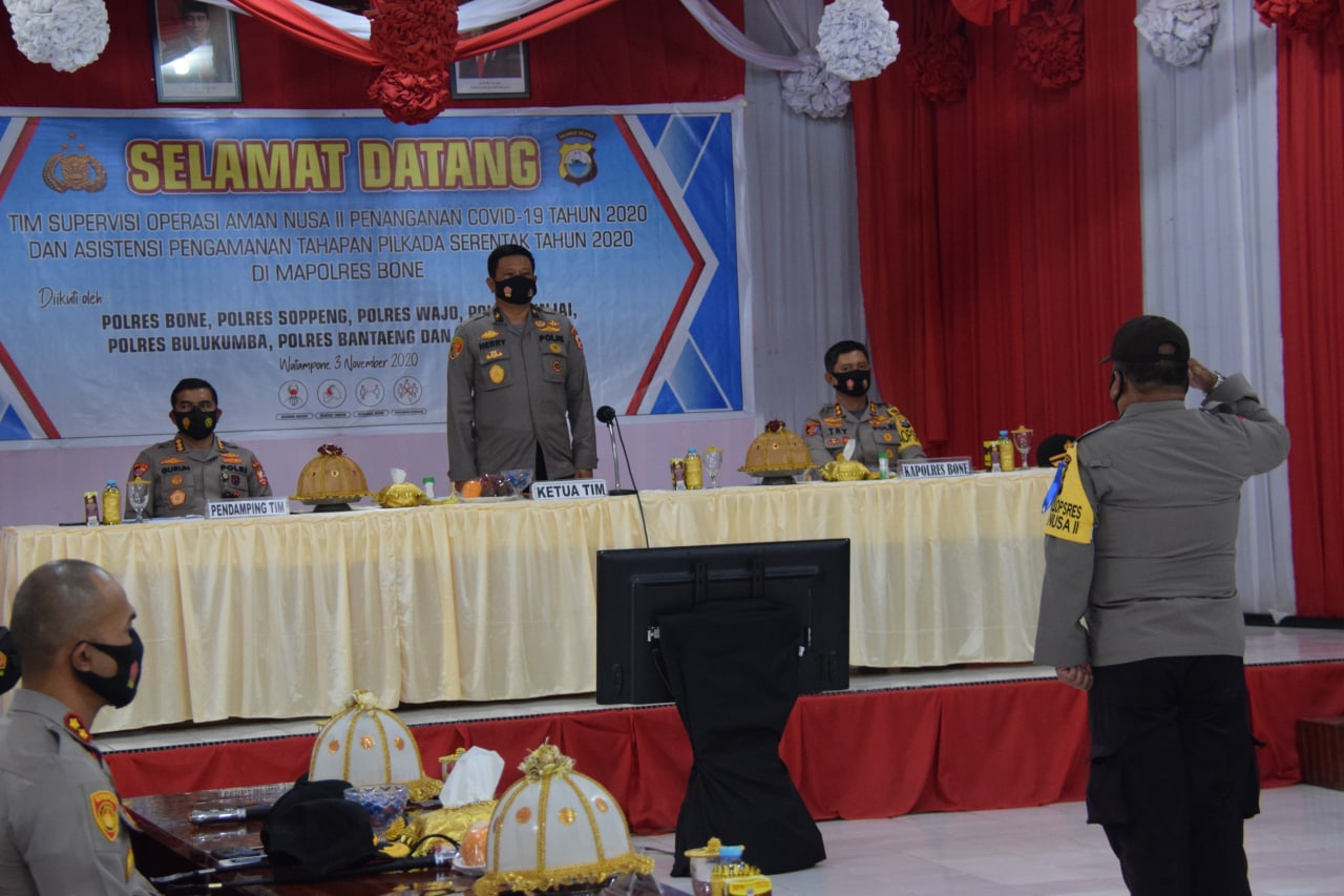 Kapolres Bone Bersama Enam Kapolres Jajaran Polda Sulsel Sambut Tim Supervisi OPS Aman Nusa II Dengan Salam Ewako