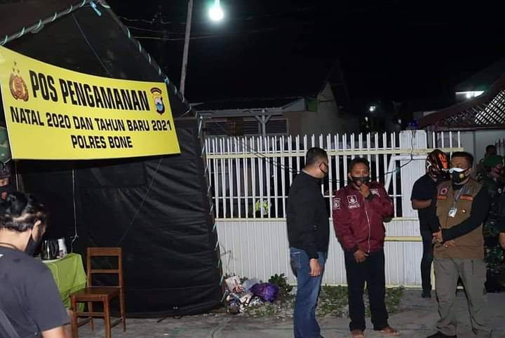 Pastikan Pengamanan Natal, TNI-POLRI Bersama Forkopimda Bone Datangi Sejumlah Gereja