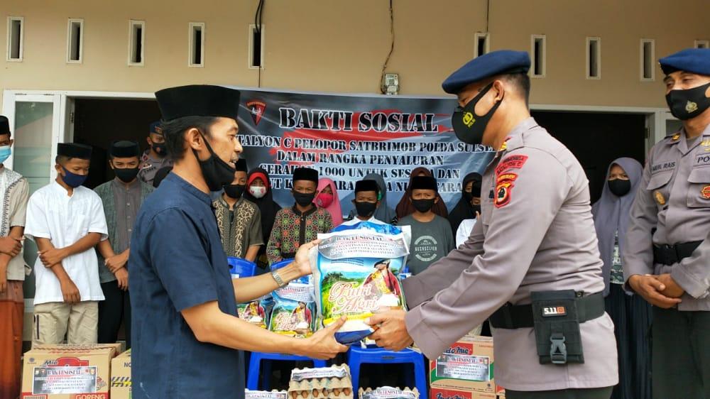 Salurkan Dana Gerakan Rp 1000 Perhari, Batalyon C Pelopor Santuni Anak Yatim dan warga kurang mampu