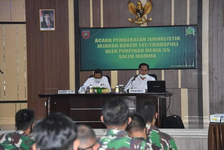 75 Personil Jajaran Korem 141 Ikuti Pelatihan dan Pembekalan Jurnalistik