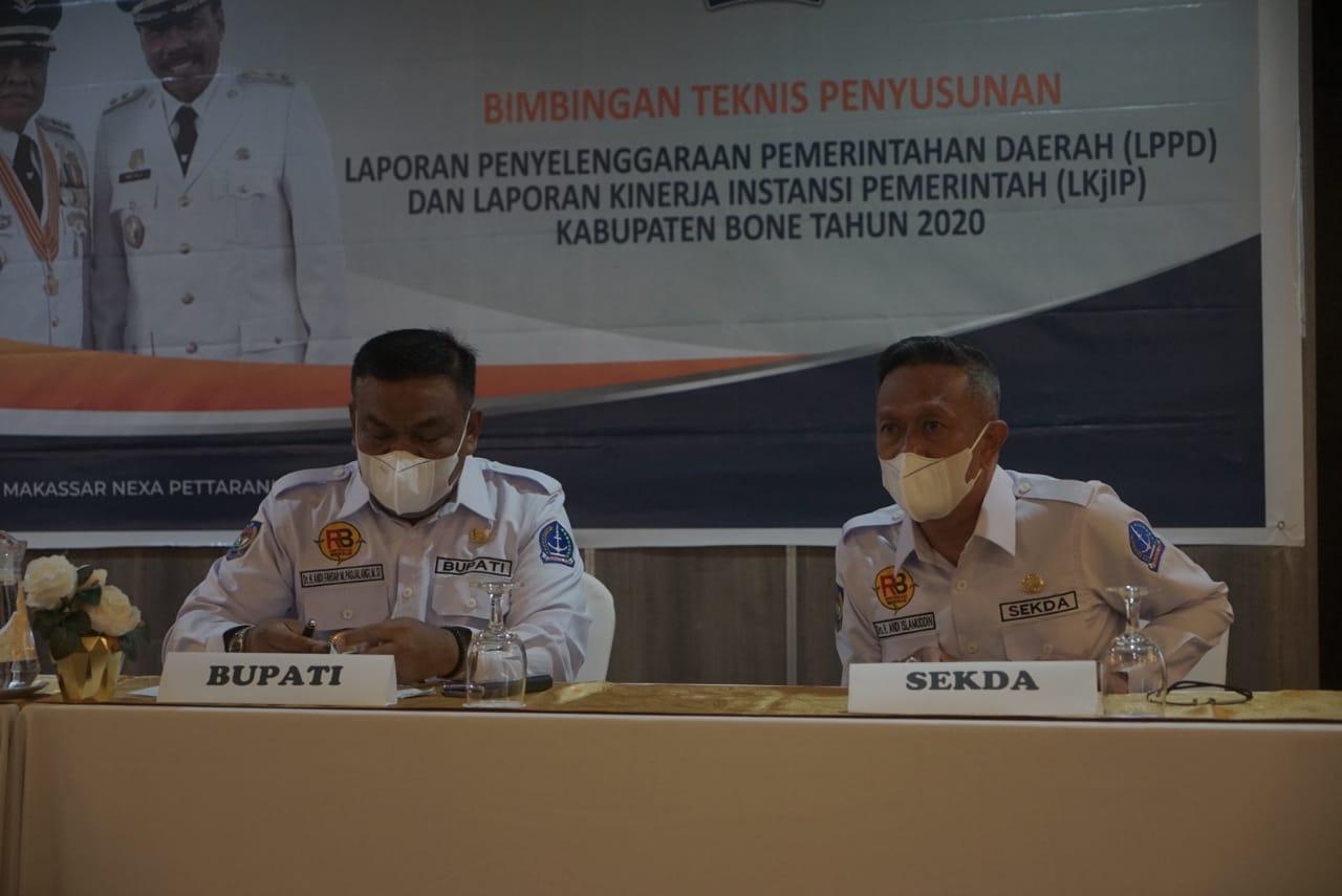 Bupati Bone Buka BIMTEK Penyusunan LPPD dan LKJIP Kabupaten Bone 2020