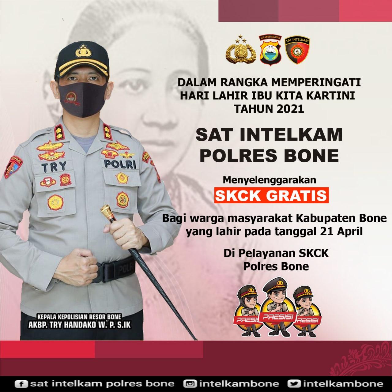 SAT INTELKAM Polres Bone Gratiskan Pembuatan SKCK di Hari Kartini