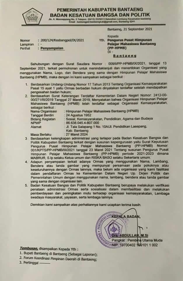 Surat Edaran Kesbangpol Bantaeng, HPMB Hanya Satu dan Mabrur Ketuanya