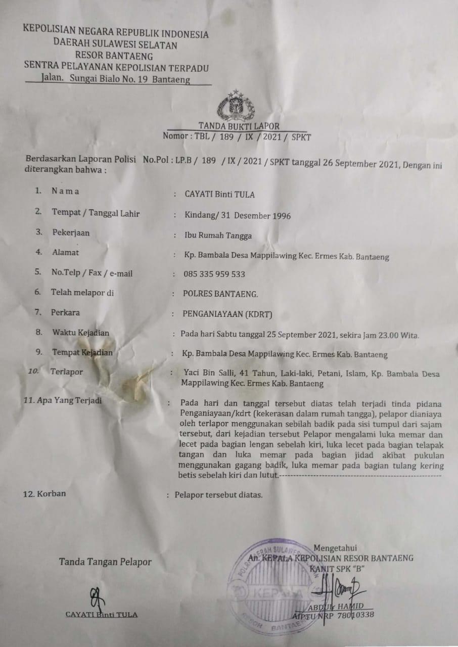 LKBH-HPMB Angkat Bicara Terkait Lambatnya Penangkapan Terduga Pelaku KDRT di Bantaeng